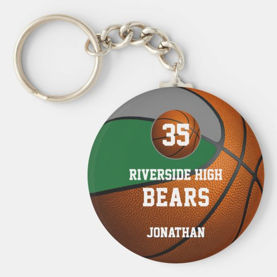 Green gray school colors boys' basketball team keychain