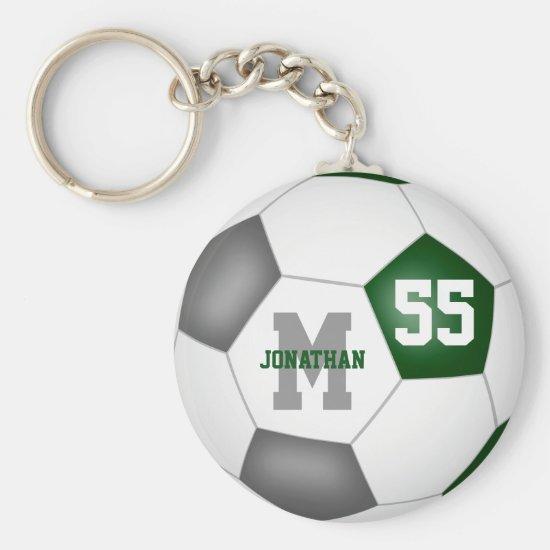 green gray school colors boys girls soccer ball keychain