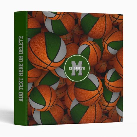 green gray school colors girls boys basketball 3 ring binder