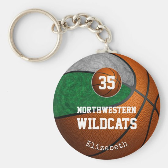 green gray school team colors girls' basketball keychain