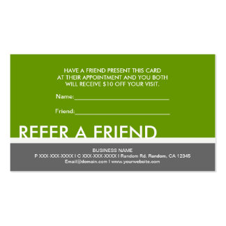Green gray simple refer a friend cards business card