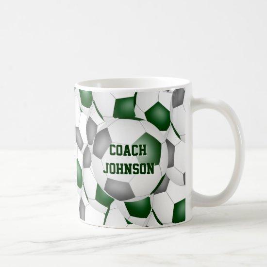 green gray soccer school team colors coach gift coffee mug