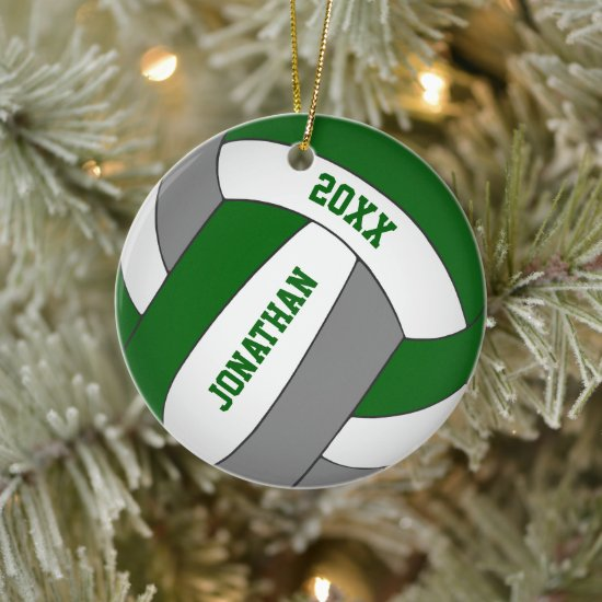 green gray sports team colors boys volleyball ceramic ornament