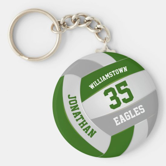 green gray sports team colors volleyball keychain