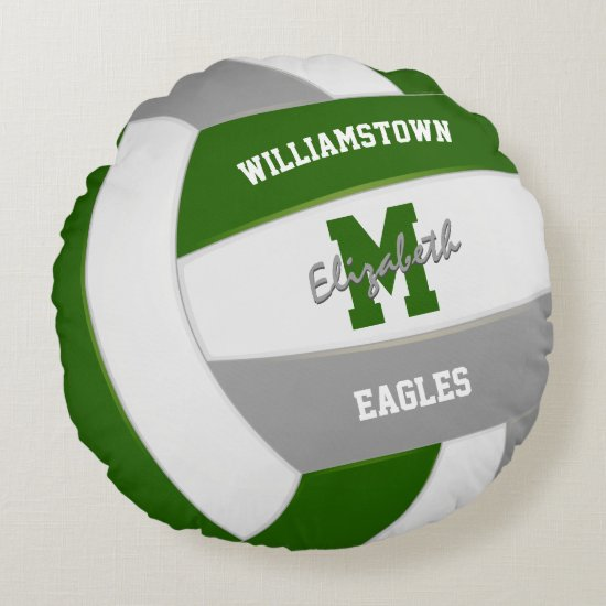 green gray sports team colors volleyball round pillow