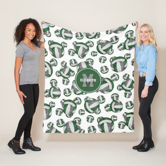 green gray sporty team colors girly volleyball fleece blanket