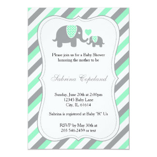 Green & Gray Stripes Baby Elephant | Baby Shower Card