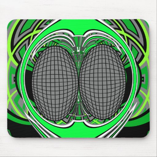 Green gray superfly design mouse pad