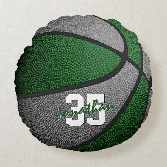 green gray team colors boys girls basketball decor round pillow