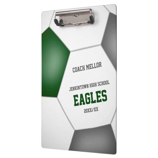 green gray team colors custom soccer coach clipboard