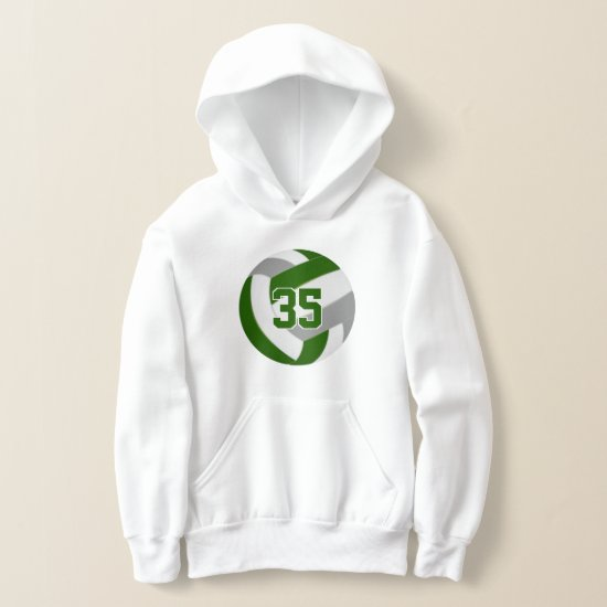 green gray team colors jersey number volleyball hoodie