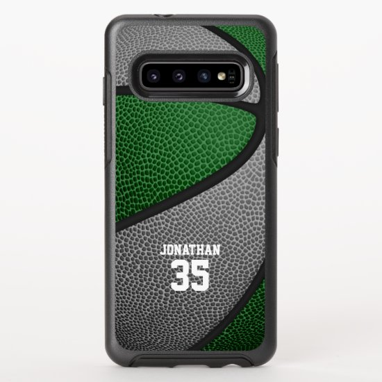 green gray team colors personalized basketball OtterBox symmetry samsung galaxy s10 case