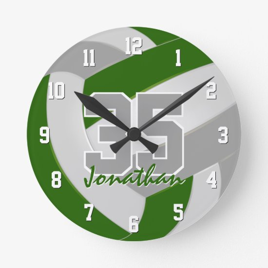 green gray team colors players name volleyball round clock