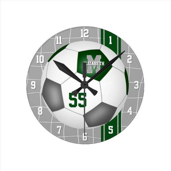 green gray team colors varsity stripes soccer round clock