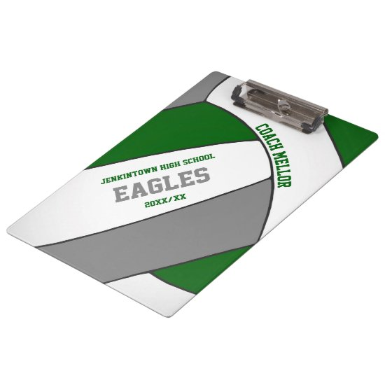 green gray team colors volleyball coach clipboard