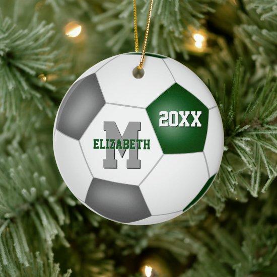 green gray team spirit girls boys keepsake soccer ceramic ornament