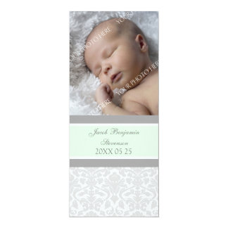 "Green Gray Template New Baby Birth Announcement 4"" X 9.25"" Invitation Card"