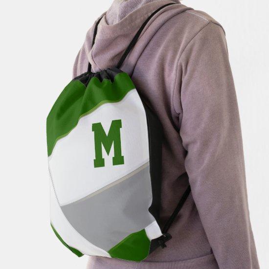 green gray volleyball girl boy school team colors drawstring bag