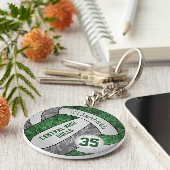 green gray volleyball keychain w school team name