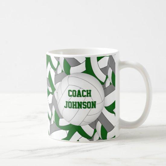 green gray volleyball team colors coach gift coffee mug