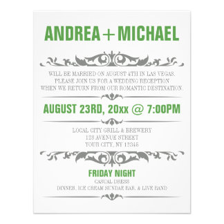 Green & Gray Wedding Reception ONLY Invitations
