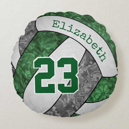 green gray white personalized girls' volleyball round pillow