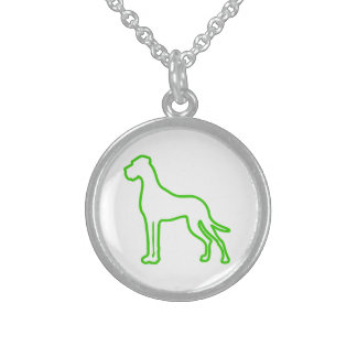 Green Great Dane Sterling Silver Necklace