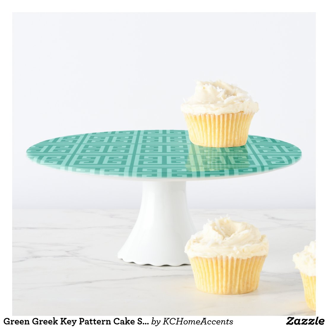 Green Greek Key Pattern Cake Stand