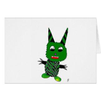 Green gremlin greeting card