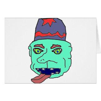 Green Gremlin Head Greeting Card
