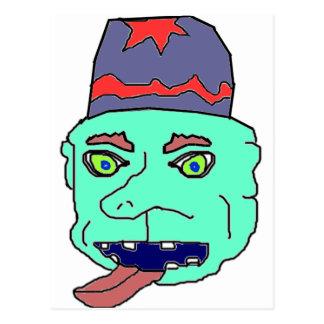 Green Gremlin Head Post Card