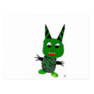 Green gremlin postcard