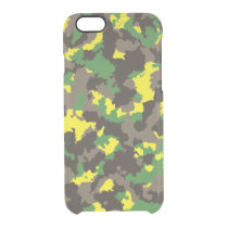 Green/Grey/Acid Yellow Camouflage Clear iPhone 6/6S Case