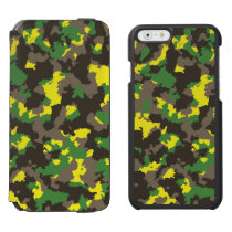 Green/Grey/Acid Yellow Camouflage iPhone 6/6s Wallet Case