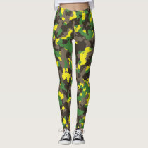 Green/Grey/Acid Yellow Camouflage Leggings