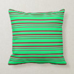 [ Thumbnail: Green, Grey, and Dark Red Colored Pattern Pillow ]