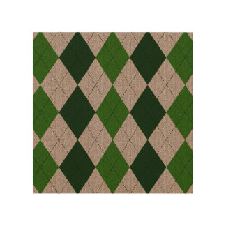 Green & Grey Argyle Pattern Wood Canvases