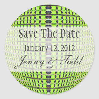 green grey ave the date classic round sticker