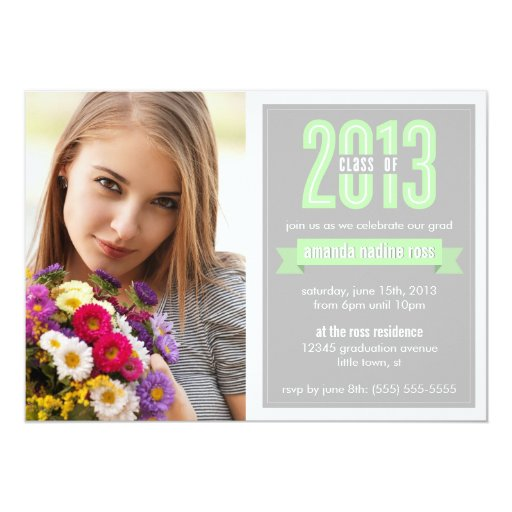 Green Grey Banner Class of 2013 Photo Graduation 5x7 Paper Invitation Card