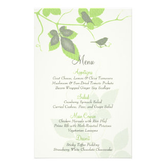 Green Grey Birds and Leaves Wedding Menu Card