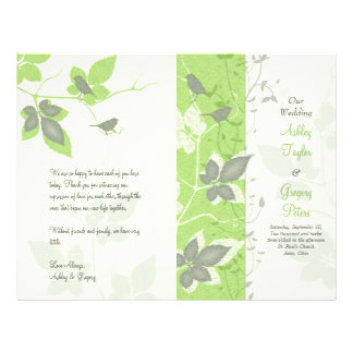 Green Grey Birds and Vines Wedding Program