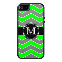 Green, Grey, Black Chevron, Monogrammed Otterbox OtterBox iPhone 5/5s/SE Case
