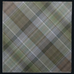 "Green grey brown plaid pattern napkin<br><div class=""desc"">A digital pattern of random lines in shades of dark and light soft green,  brown and grey,  in diagonal striped checks or tartan.</div>"
