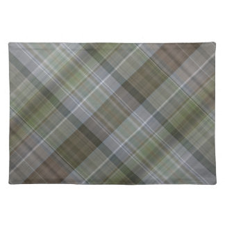 Green grey brown plaid pattern cloth placemat