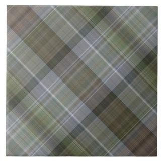 Green grey brown plaid pattern tile