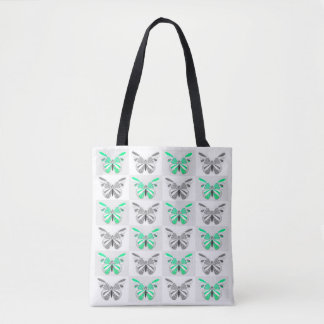 Green/Grey Butterfly Print Tote Bag