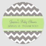 Green Grey Chevron Baby Shower Favor Stickers