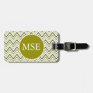 Green Grey Chevron Zigzag Tag For Bags