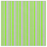 [ Thumbnail: Green & Grey Colored Lined Pattern Fabric ]