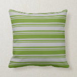 [ Thumbnail: Green & Grey Colored Striped/Lined Pattern Pillow ]